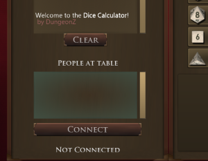 Dice Calculator Table Connection